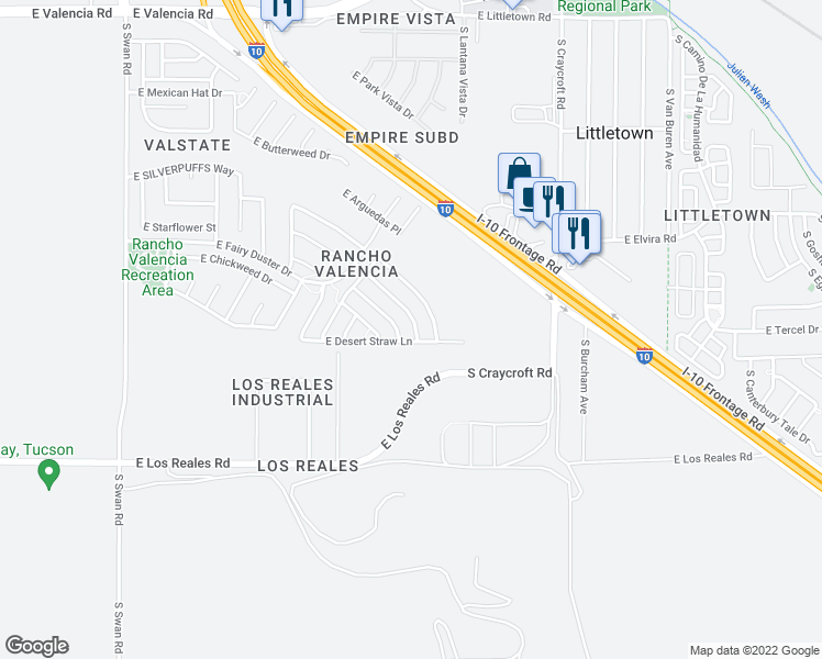 map of restaurants, bars, coffee shops, grocery stores, and more near 7040 S Blueeyes Dr in Tucson