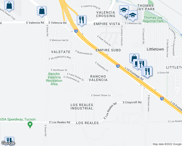 map of restaurants, bars, coffee shops, grocery stores, and more near 5081 E Fishhook Ct in Tucson