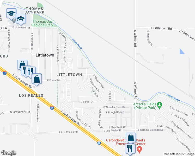 map of restaurants, bars, coffee shops, grocery stores, and more near 6897 S Harrier Loop in Tucson