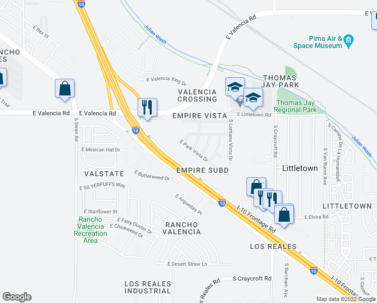 map of restaurants, bars, coffee shops, grocery stores, and more near 5148 East Park Vista Drive in Tucson