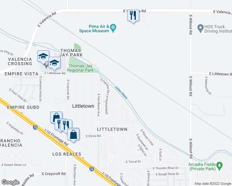 map of restaurants, bars, coffee shops, grocery stores, and more near 6643 South Avenida Del Arrabal in Tucson