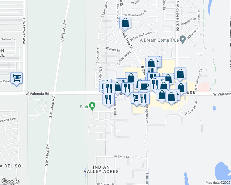 map of restaurants, bars, coffee shops, grocery stores, and more near W Valencia Rd & S Headley Rd in Tucson