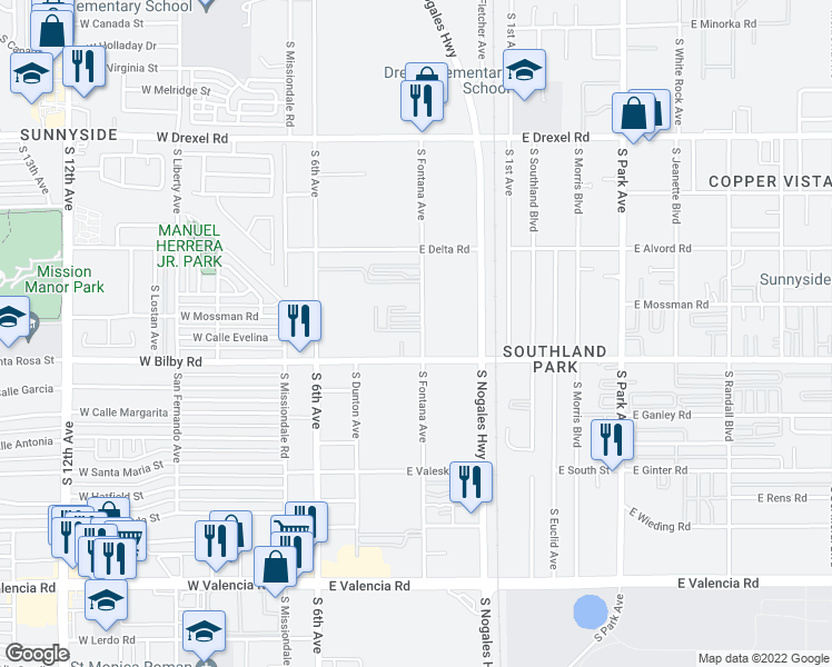 map of restaurants, bars, coffee shops, grocery stores, and more near 6030 South Fontana Avenue in Tucson