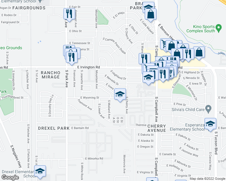 map of restaurants, bars, coffee shops, grocery stores, and more near 1446 E Iowa Dr in Tucson