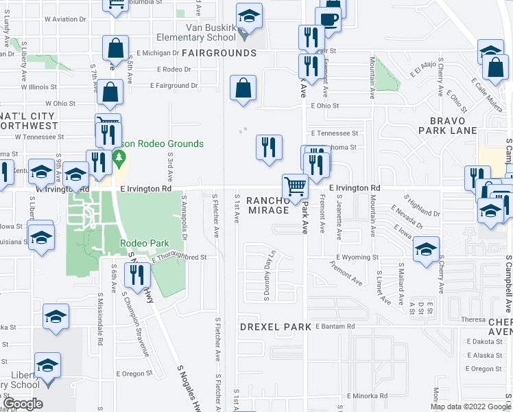 map of restaurants, bars, coffee shops, grocery stores, and more near 750 E Irvington Rd in Tucson
