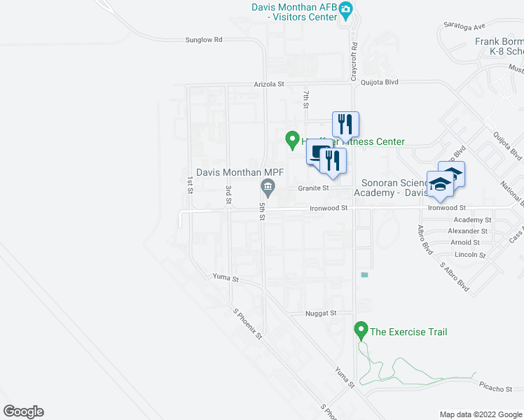 map of restaurants, bars, coffee shops, grocery stores, and more near 5th Street in Tucson