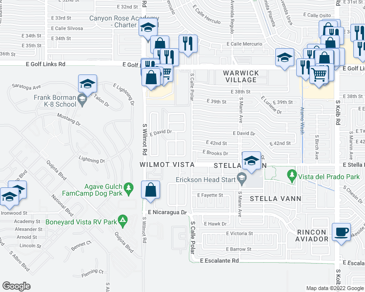 map of restaurants, bars, coffee shops, grocery stores, and more near 3094 S Foster Dr in Tucson
