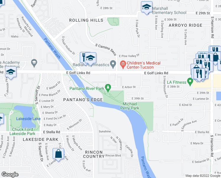 map of restaurants, bars, coffee shops, grocery stores, and more near 8804 E Arbor St in Tucson