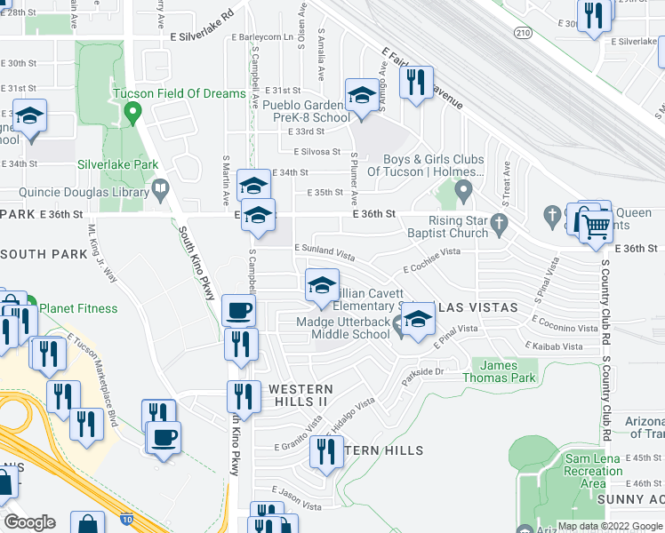 map of restaurants, bars, coffee shops, grocery stores, and more near 2188 East Sunland Vista in Tucson