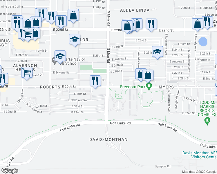 map of restaurants, bars, coffee shops, grocery stores, and more near S Swan Rd & E 29th St in Tucson