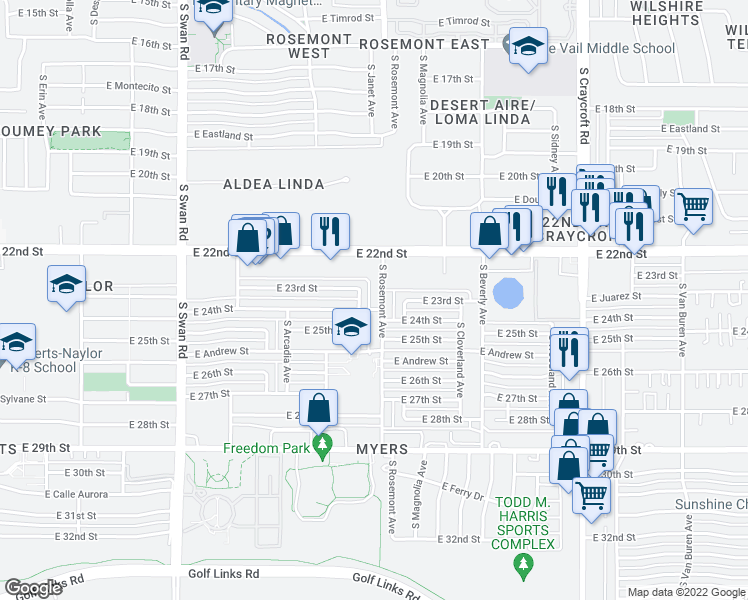 map of restaurants, bars, coffee shops, grocery stores, and more near 1326 S Rosemont Ave in Tucson