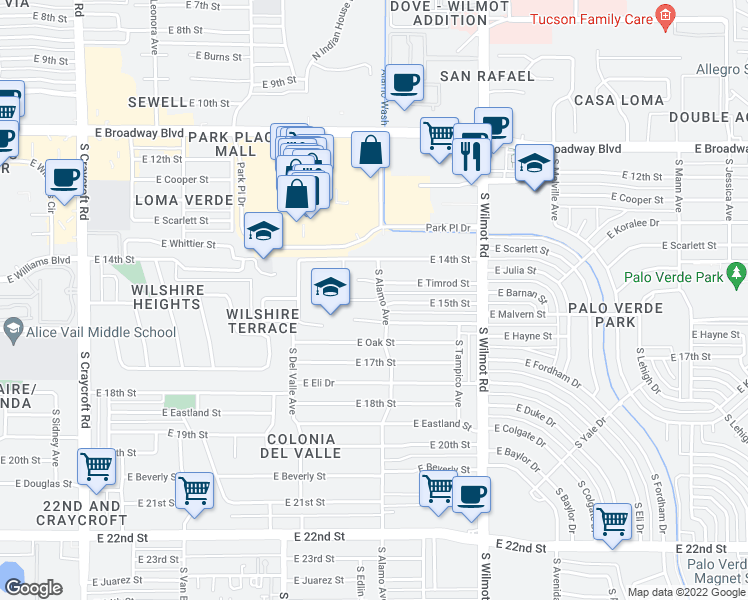 map of restaurants, bars, coffee shops, grocery stores, and more near E 15th St in Tucson