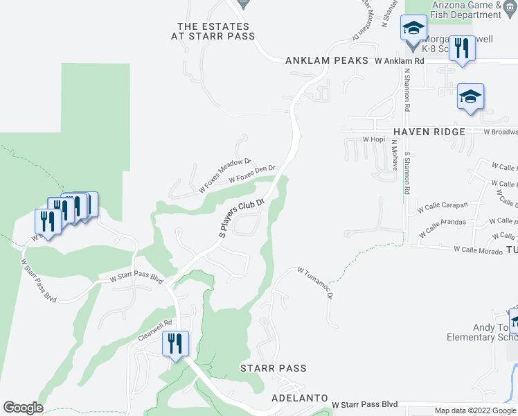 map of restaurants, bars, coffee shops, grocery stores, and more near 3430 W Quail Haven Cir in Tucson