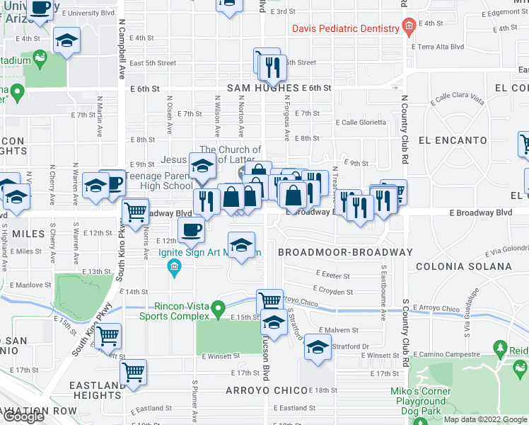 map of restaurants, bars, coffee shops, grocery stores, and more near 1 N Tucson Blvd in Tucson