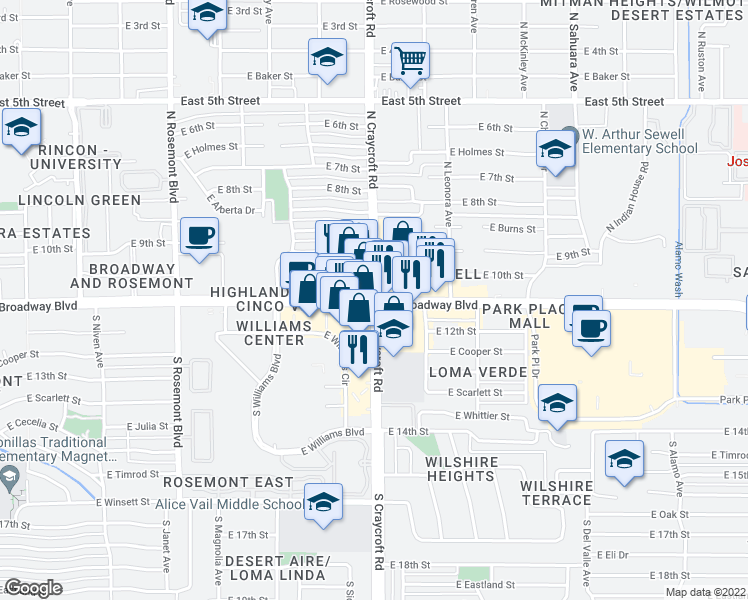 map of restaurants, bars, coffee shops, grocery stores, and more near E Broadway Blvd & N Craycroft Rd in Tucson