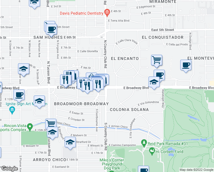 map of restaurants, bars, coffee shops, grocery stores, and more near in Tucson