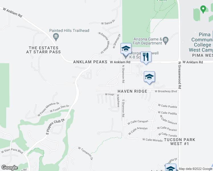 map of restaurants, bars, coffee shops, grocery stores, and more near W Desert Glory Dr & N Desert Stream Dr in Tucson
