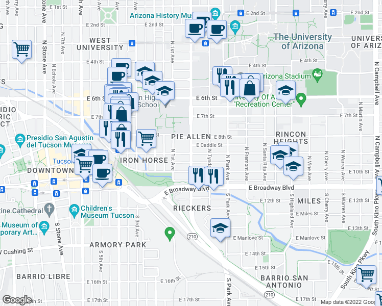 map of restaurants, bars, coffee shops, grocery stores, and more near N Euclid Ave & E 9th St in Tucson