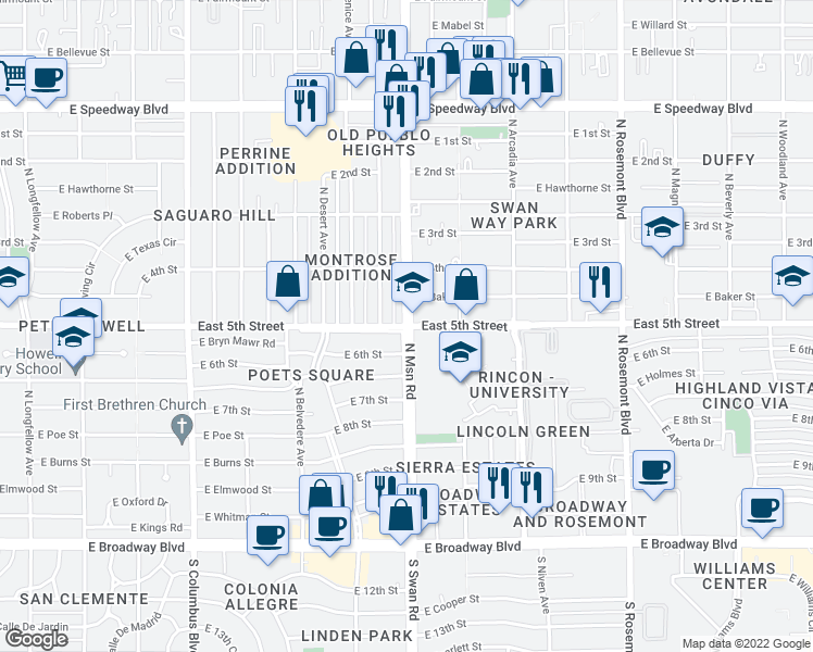 map of restaurants, bars, coffee shops, grocery stores, and more near N Swan Rd & E 5th St in Tucson