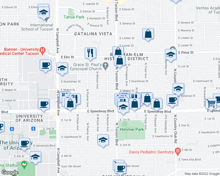 map of restaurants, bars, coffee shops, grocery stores, and more near 2409 E Mabel St in Tucson
