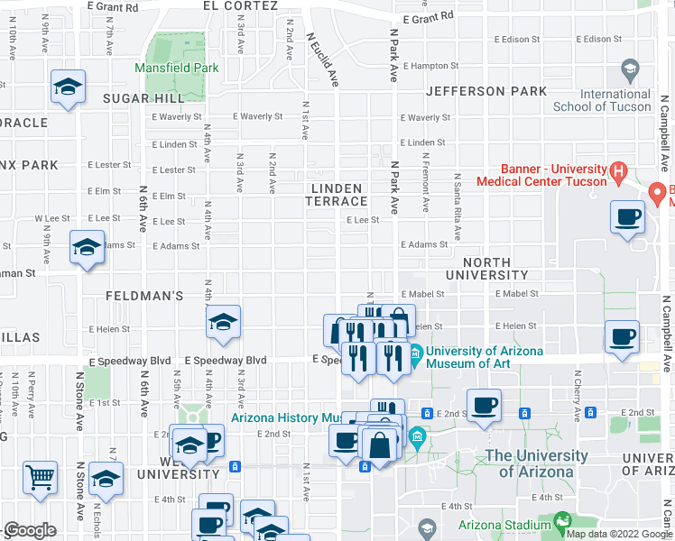 map of restaurants, bars, coffee shops, grocery stores, and more near North Euclid Avenue & East Drachman Street in Tucson