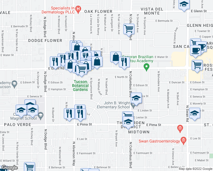 map of restaurants, bars, coffee shops, grocery stores, and more near 2201 N Isabel Blvd in Tucson
