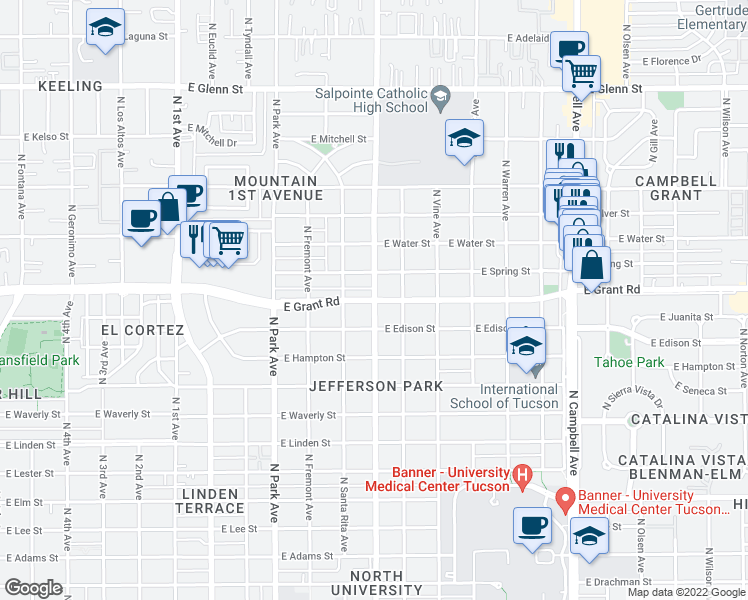 map of restaurants, bars, coffee shops, grocery stores, and more near E Grant Rd & N Mountain Ave in Tucson