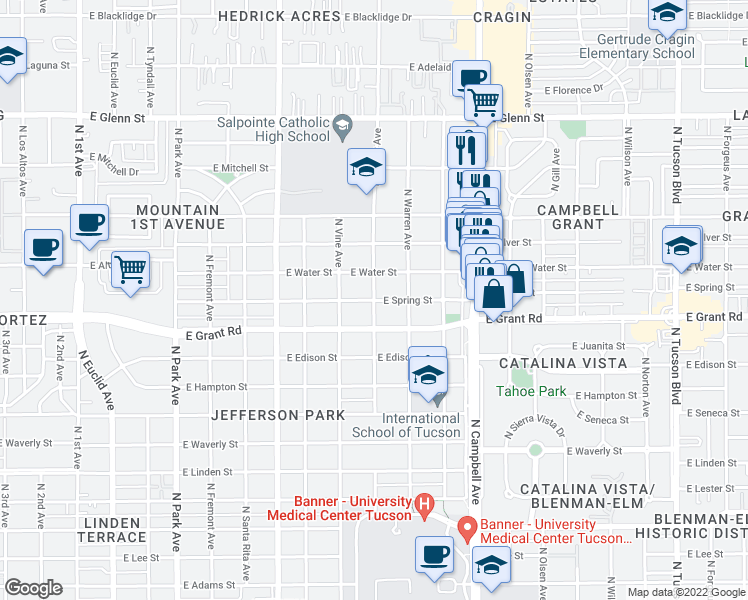 map of restaurants, bars, coffee shops, grocery stores, and more near N Cherry Ave & E Spring St in Tucson