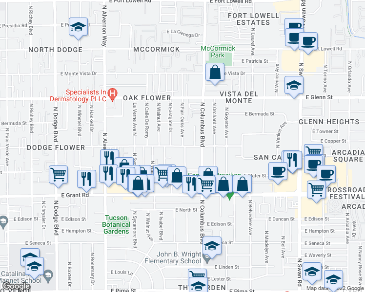 map of restaurants, bars, coffee shops, grocery stores, and more near E Flower St & N Fair Oaks Ave in Tucson