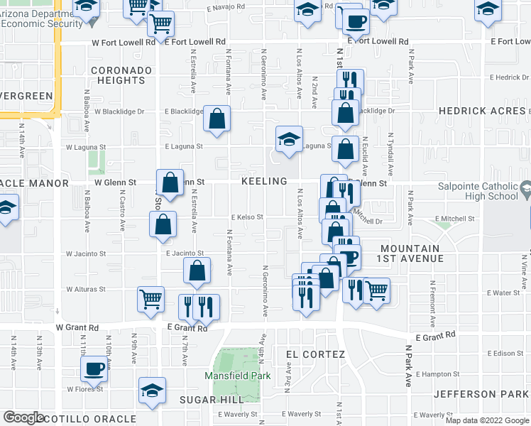 map of restaurants, bars, coffee shops, grocery stores, and more near 2708 North Geronimo Avenue in Tucson