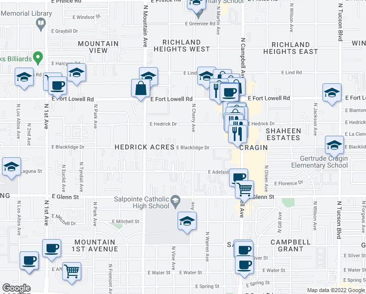 map of restaurants, bars, coffee shops, grocery stores, and more near 1517 E Blacklidge Dr in Tucson