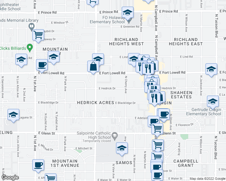 map of restaurants, bars, coffee shops, grocery stores, and more near 1419 E Blacklidge Dr in Tucson