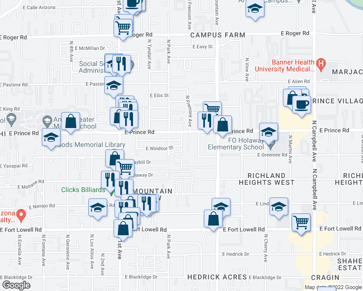 map of restaurants, bars, coffee shops, grocery stores, and more near E Windsor St in Tucson
