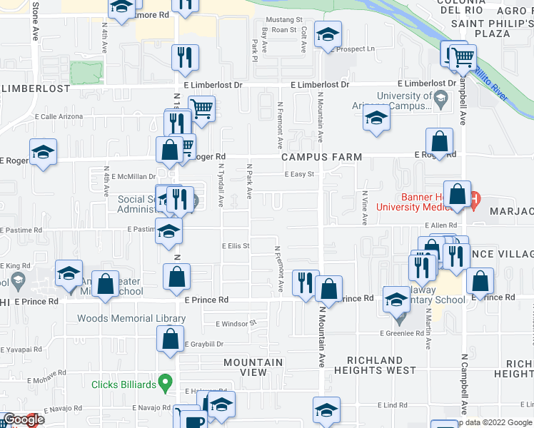 map of restaurants, bars, coffee shops, grocery stores, and more near 1037 East Irwin Place in Tucson