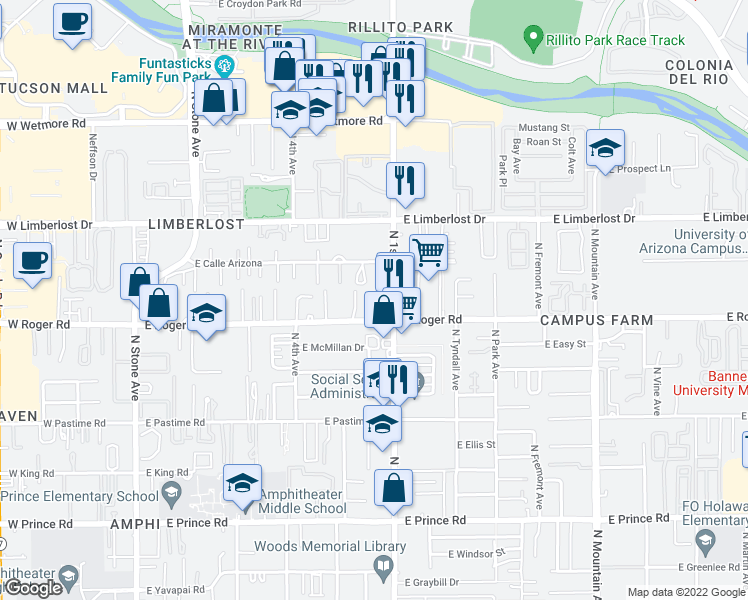 map of restaurants, bars, coffee shops, grocery stores, and more near 549 East Roger Road in Tucson