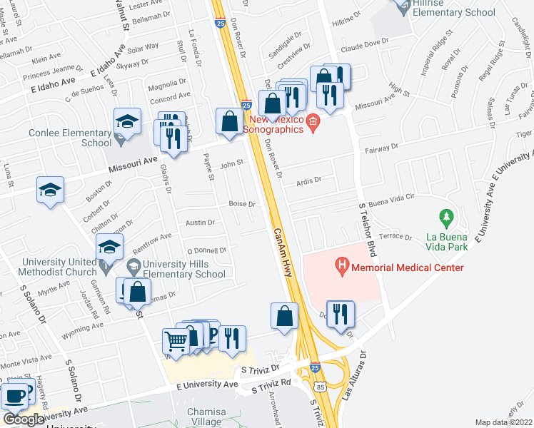 map of restaurants, bars, coffee shops, grocery stores, and more near CanAm Highway in Las Cruces