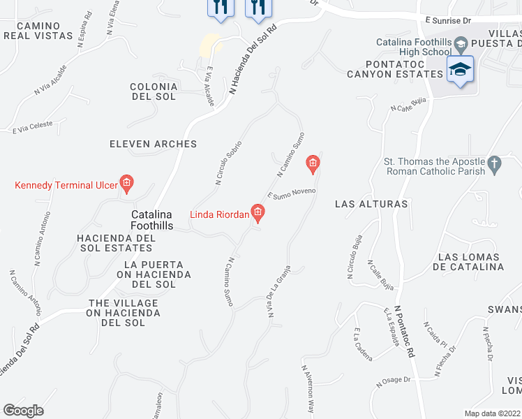 map of restaurants, bars, coffee shops, grocery stores, and more near 3771 East Sumo Octavo in Tucson