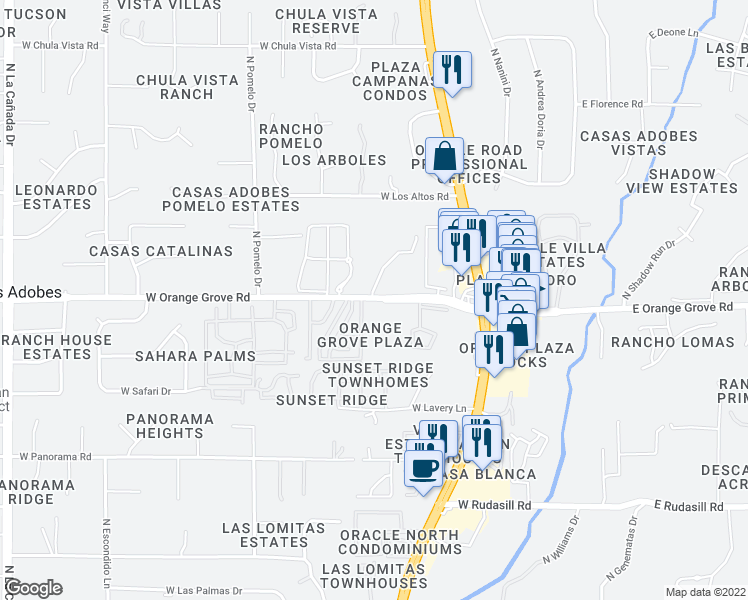 map of restaurants, bars, coffee shops, grocery stores, and more near 6402 N Treasure Dr in Tucson