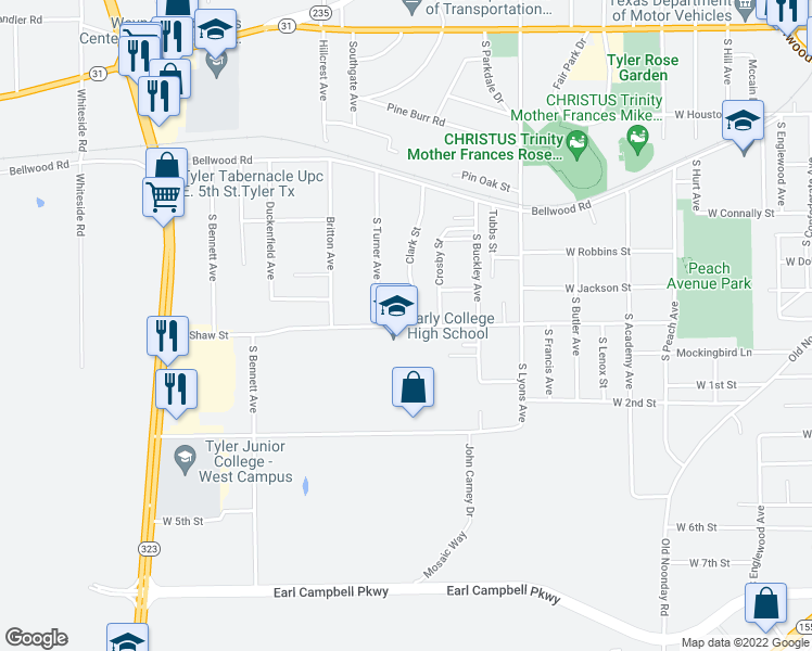 map of restaurants, bars, coffee shops, grocery stores, and more near 2715 Shaw Street in Tyler