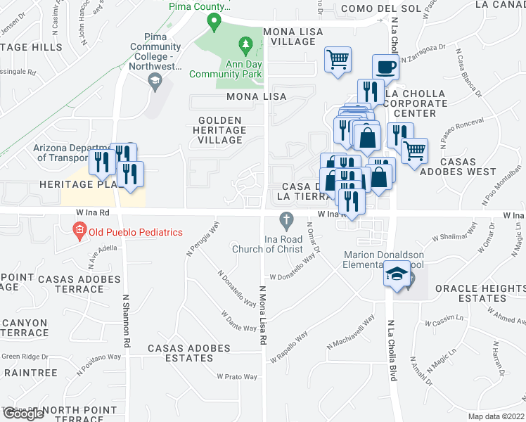map of restaurants, bars, coffee shops, grocery stores, and more near W Ina Rd & N Mona Lisa Rd in Casas Adobes