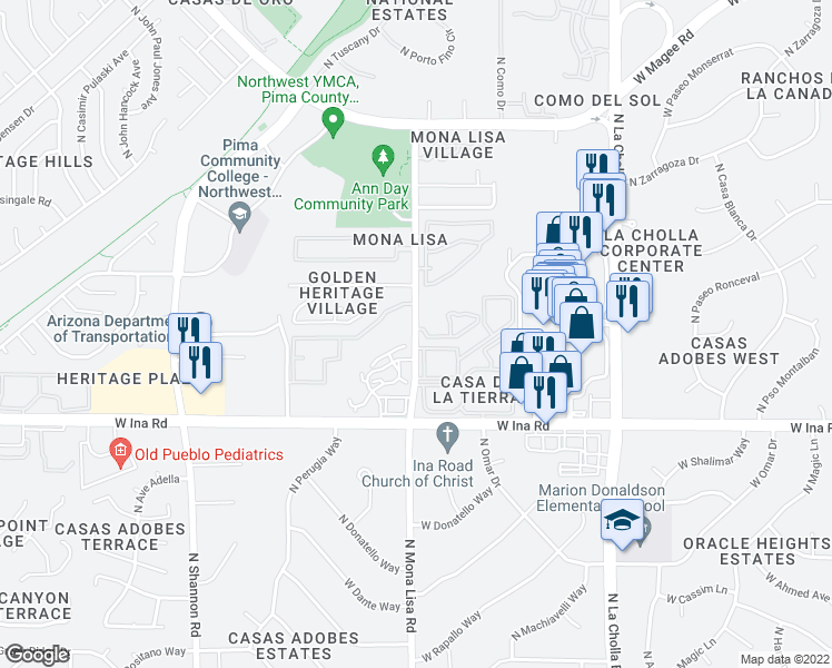 map of restaurants, bars, coffee shops, grocery stores, and more near 7317-7323 North Mona Lisa Road in Tucson