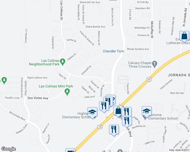map of restaurants, bars, coffee shops, grocery stores, and more near 3828 Marble View Drive in Las Cruces