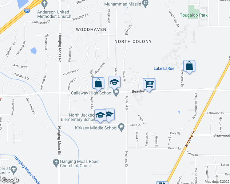 map of restaurants, bars, coffee shops, grocery stores, and more near 501-557 Beasley Road in Jackson
