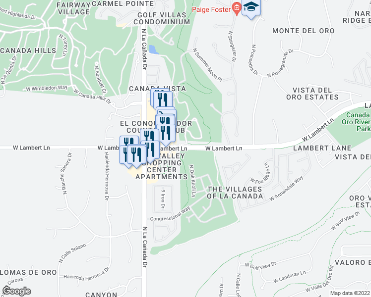 map of restaurants, bars, coffee shops, grocery stores, and more near 1335 West Lambert Lane in Oro Valley