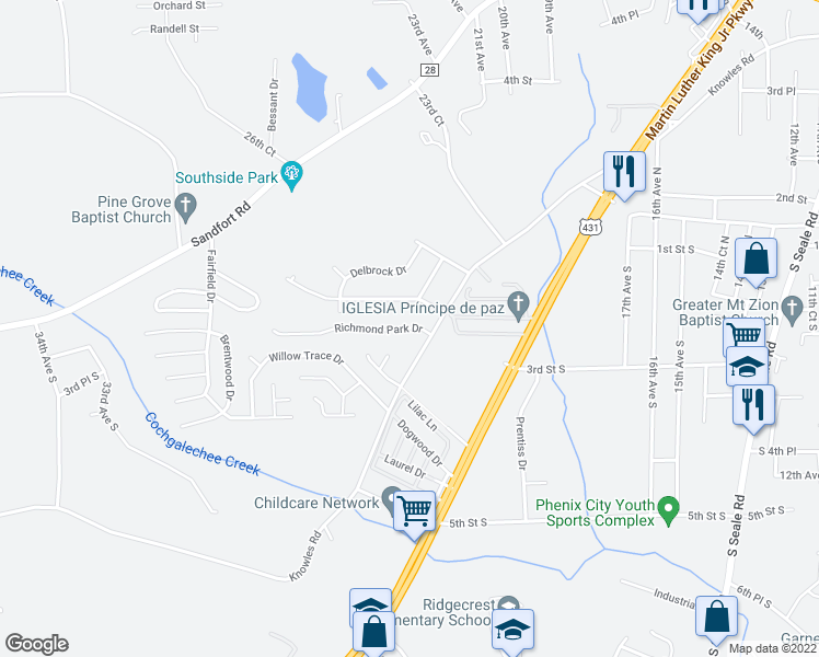 map of restaurants, bars, coffee shops, grocery stores, and more near 2609 5th Street in Phenix City
