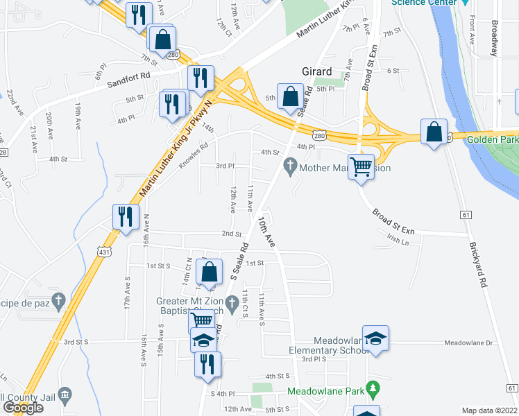 map of restaurants, bars, coffee shops, grocery stores, and more near 215 Seale Road in Phenix City