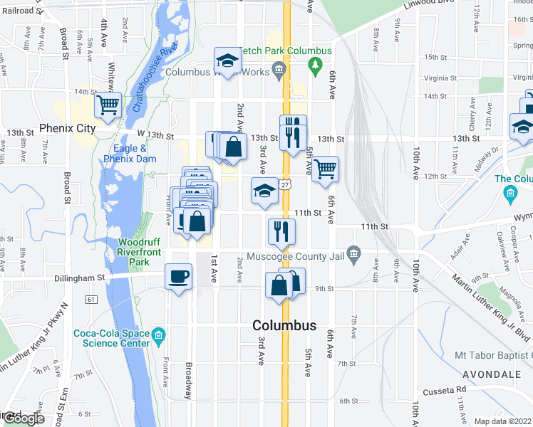 map of restaurants, bars, coffee shops, grocery stores, and more near 300 11th St in Columbus