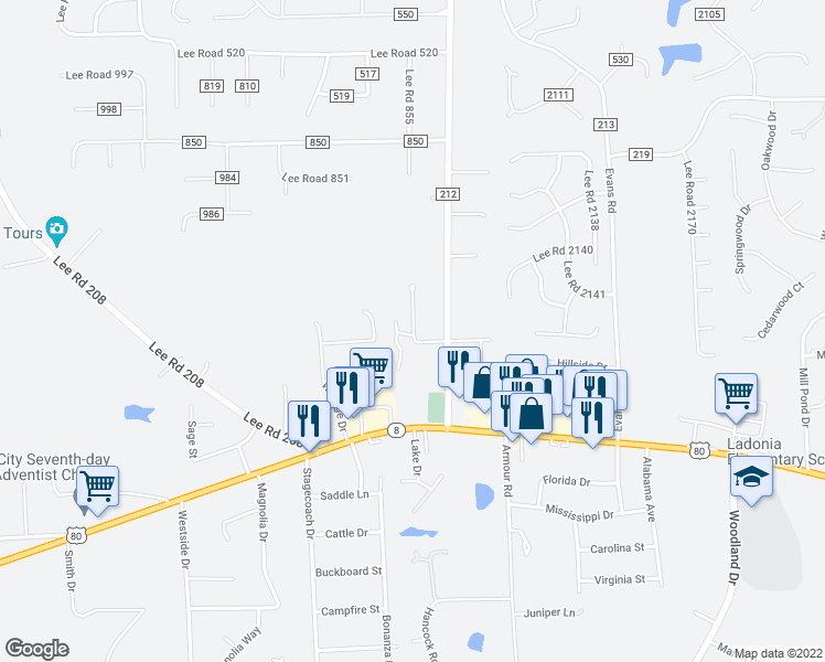 map of restaurants, bars, coffee shops, grocery stores, and more near 447 Lee Road 235 in Phenix City