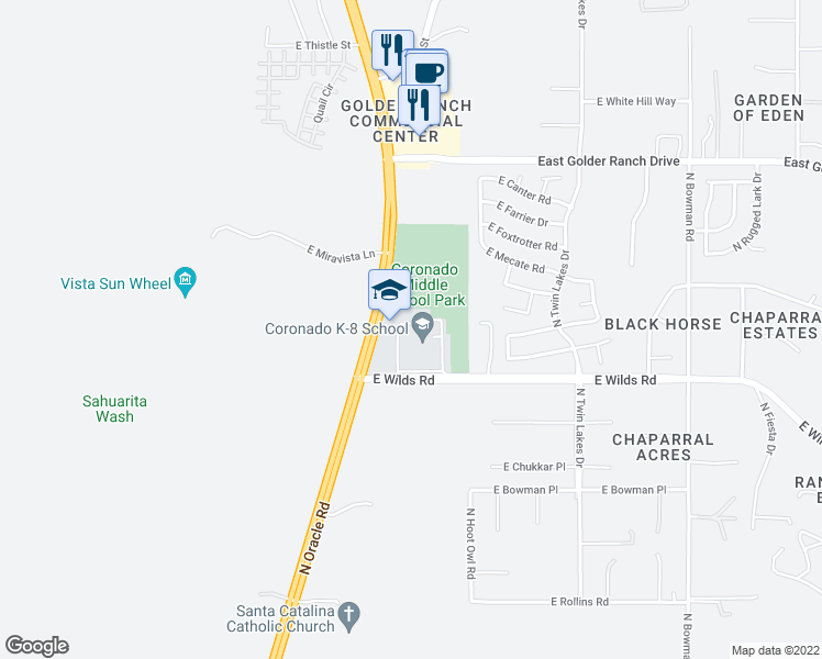 map of restaurants, bars, coffee shops, grocery stores, and more near 3401 East Wilds Road in Tucson