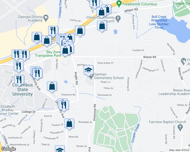 map of restaurants, bars, coffee shops, grocery stores, and more near 4006 Sealy Ln in Columbus